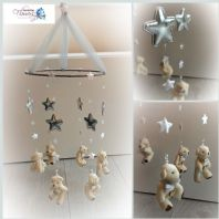 Teddy Stars Mobile Grey Silver Baby Nursery Handmade Mobile New Baby Shower Gift